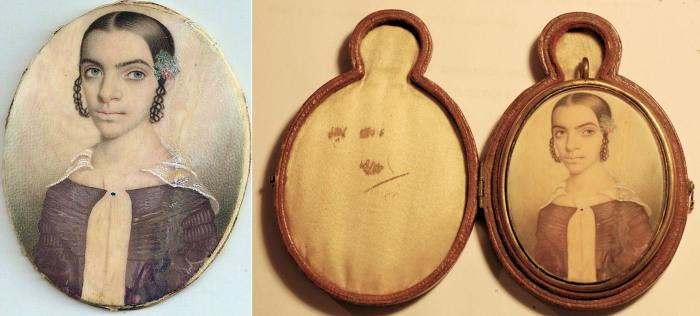 Дочь Салли, Харриет (1820). Изображение на медальоне.